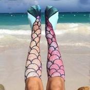 Lovely Trendy Mermaid Print Multicolor Socks