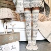 Lovely Chic Deer Grey Socks
