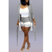 Lovely Casual Patchwork Light Grey Two-piece Short
