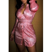 Lovely Chic Sequin Pink Mini Dress