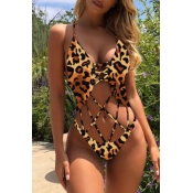 Lovely Hollow-out Leopard One-piece Swimsuit