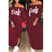 Lovely Casual Letter Wine Red Ankle Length Dress