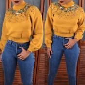 Lovely Casual Turtleneck Yellow Sweatshirt Hoodie