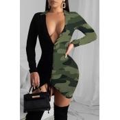 Lovely Chic V Neck Camo Army Green Mini Dress