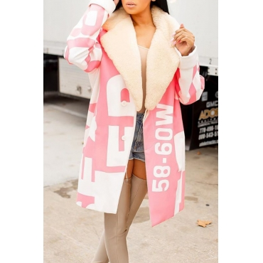 Lovely Casual Letter Light Pink Winter Coat