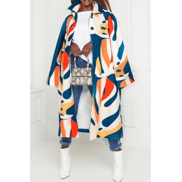 Lovely Chic Striped Loose Multicolor Coat