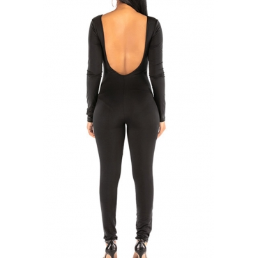 Lovely Trendy Backless Black One-piece Jumpsuit
