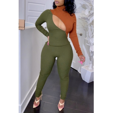 Lovely Chic Patchwork Green Two-piece Pants Set