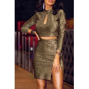 Lovely Trendy Mandarin Collar Gold Two-piece Skirt Set