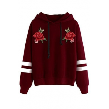 Lovely Casual Hooded Collar Striped Wine Red Hoodie