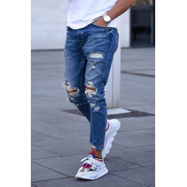 Lovely Casual Hollow-out Deep Blue Jeans