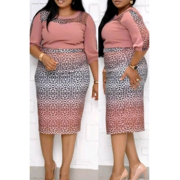 Lovely Casual Patchwork Pink Knee Length Plus Size Dress
