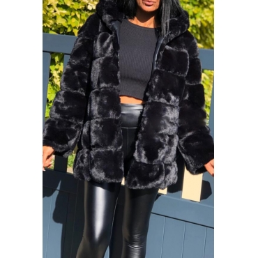 Lovely Casual Basic Black Teddy Coat