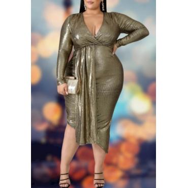 Lovely Trendy V Neck Blackish Green Mid Calf Plus Size Dress