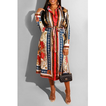 Lovely Casual Turndown Collar Print Red Mid Calf Dress