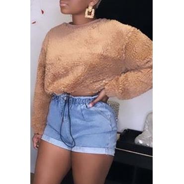 Lovely Casual O Neck Khaki Sweatshirt