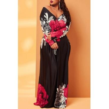 Lovely Casual V Neck Floral Print Black Plus Size Maxi Dress