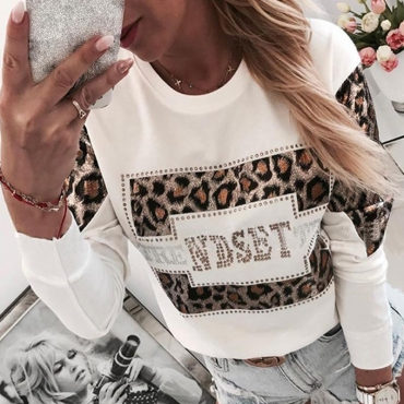 Lovely Casual Patchwork White Sweatshirt Hoodi