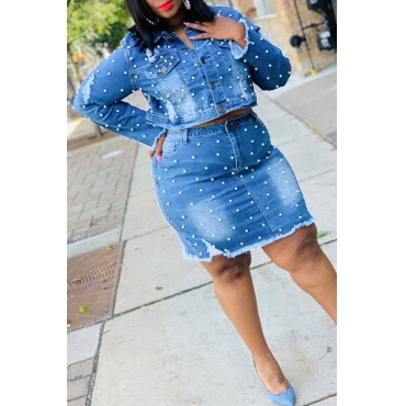 Lovely Casual Nail Bead Design Baby Blue Plus Size Two-piece Skirt Set