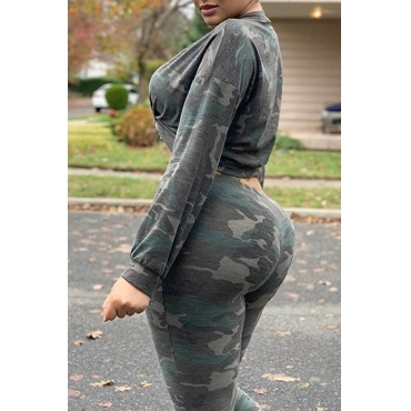Lovely Casual Camo Print Army Green Plus Size Two-piece Pants Set