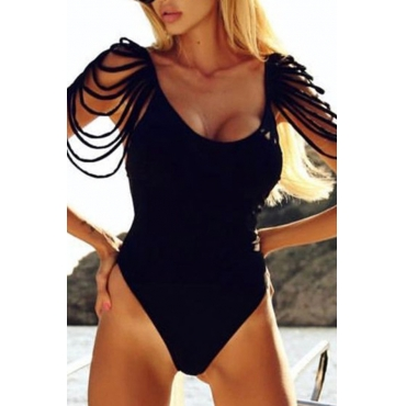 Lovely Tassel Design Black One-piece Swimwear