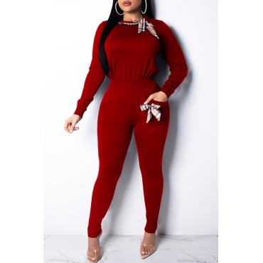 Lovely Casual Basic Red Two-piece Pants Set