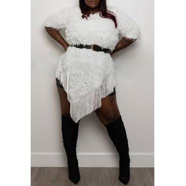 Lovely Casual O Neck Tassel Design White Knee Length Plus Size Dress