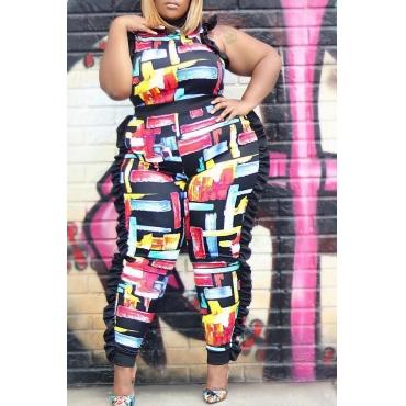 Lovely Trendy Flounce Design Black Plus Size One-piece Jumpsuit