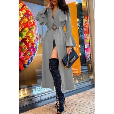 Lovely Casual Lace-up Grey Trench Coat