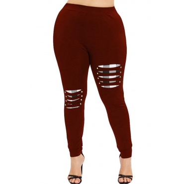 Lovely Casual Patchwork Red Plus Size Pant