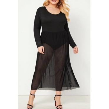 Lovely Leisure O Neck See-through Black Plus Size One-piece Romper