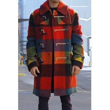 Lovely Trendy Plaid Print Multicolor Coat