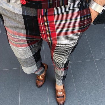 Lovely Casual Plaid Black And Red Pants