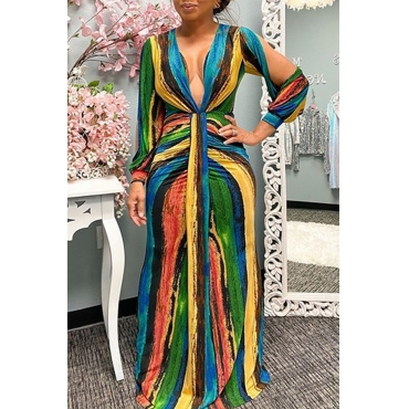 Lovely Chic V Neck Striped Multicolor Maxi Dress