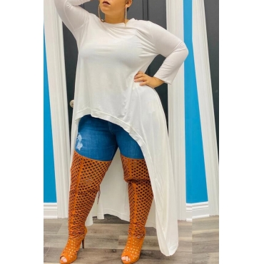 Lovely Casual Asymmetrical White Plus Size Mini Dress