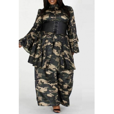 Lovely Casual Camo Print Army Green Two-piece Pants Set