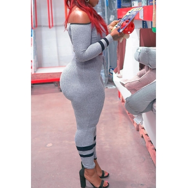 Lovely Casual Striped Grey Plus Size One-piece Jumpsuit