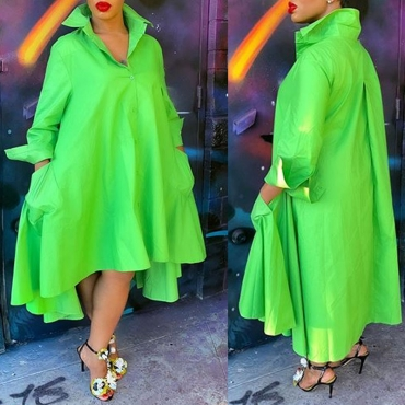 Lovely Casual V Neck Loose Green Ankle Length Dress