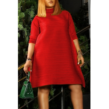Lovely Casual O Neck Loose Red Knee Length Dress