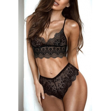 Lovely Sexy Lace Hollow-out Black Bra Sets
