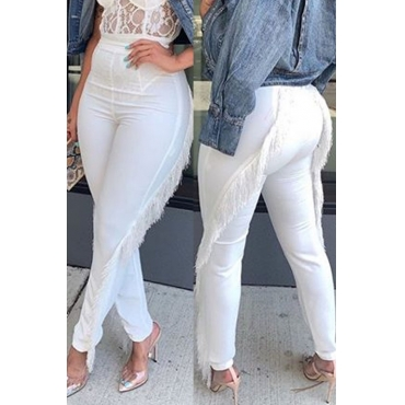 Lovely Trendy Tassel Design White Pants