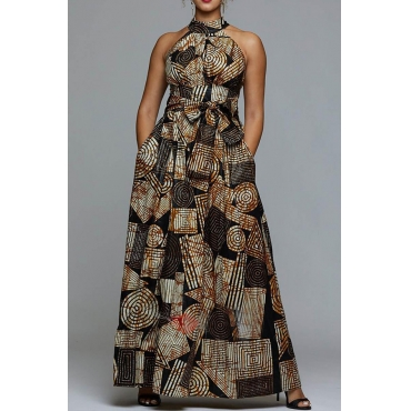 Lovely Party Dew Shoulder Print Coffee Prom Dress