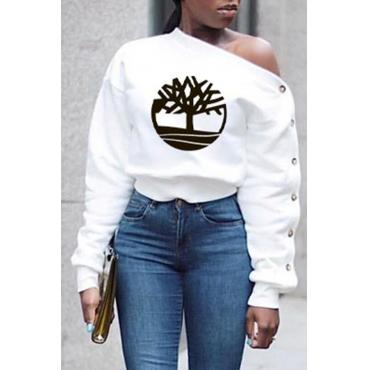 Lovely Casual Print White  Sweatshirt Hoodie