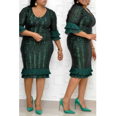 Lovely Trendy Print Flounce Green  Knee Length Plus Size Dress