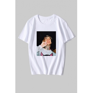Lovely Casual Figure Print White T-shirt