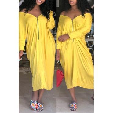 Lovely Casual V Neck Zipper Design Yellow  Mid Calf Dress