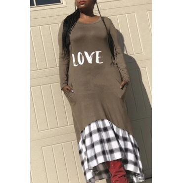Lovely Casual Patchwork Grey Ankle Length Dress