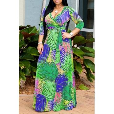 Lovely Bohemian V Neck Print Green Maxi Dress