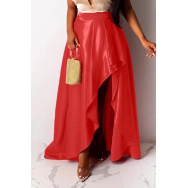 Lovely Work Asymmetrical Red Skirt