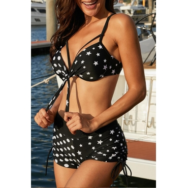 Lovely Star Print Black Two-piece Swimsuit